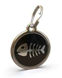 Pet Dog Cat ID Engraved Name Tag Personalized Stainless Steel Black Fishbone