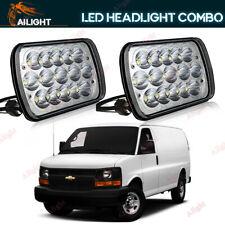 Pair 7x6 7x5 Clear LED Headlights Fits Chevy Express Cargo Van 1500 2500 3500