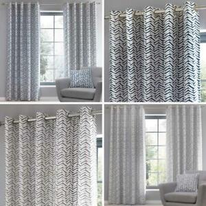 Geometric Eyelet Curtains Loft Grey Navy Ready Made Lined Ring Top Curtain Pairs
