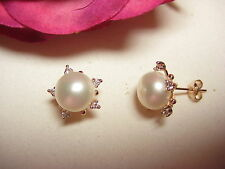 Earring Studs 925 Silver Gold Plated Freshwater Pearls Beads Jewelry 10 MM