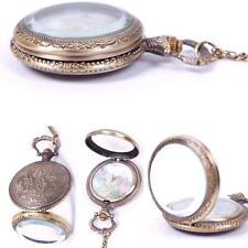 Vintage Retro World Map Pattern Quartz Chain Pendant Pocket Watch Necklace SS US