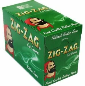 ZIG ZAG ROLLING PAPERS GREEN - REGULAR SIZE - BOX OF 100 SMOKING CIGARETTE ROLLS