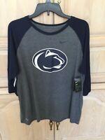 Nike Dri-Fit Women's Penn State Vault 3/4 Sleeve Raglan Jersey Shirt Size Medium