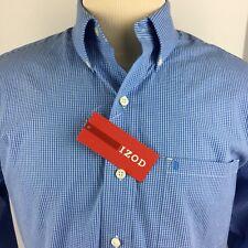 NEW IZOD Men's Basix Button Front Shirt Size Medium LS Blue Checked American Drm