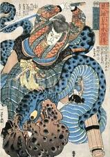 Jiraiya kuniyoshi Ninja tue serpent épée samouraï Japon 7x5 pouces imprimer