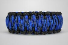 550 Paracord Survival Bracelet King Cobra Black/Blue/Denim Camping Tactical