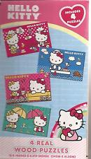 HELLO KITTY 4 Wood Puzzle Set in Storage Box 34 cm x  21 cm 4 Read Wood Puzzles
