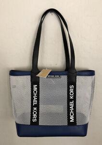 NWT MK Michael Kors Danika Large Tote Bag Purse Blue White Black
