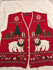 Christmas Vest Southern Lady Red Polar Bears Christmas Trees  L Lg womens