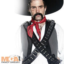 Bandolier Leather Bullet Belt Mexican Bandit Fancy Dress Western Costume Belt