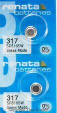 2 Pc 317 Renata Watch Batteries 317 SR516SW 0% MERCURY