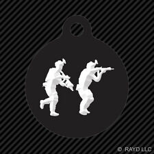 Pair of Special Forces Operators Keychain Round with Tab engraved many colors