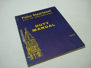 VINTAGE 1963 POLICE DEPARTMENT PD CITY OF PHILADELPHIA DUTY MANUAL BOOKLET