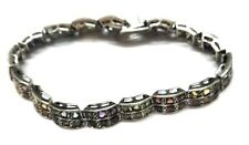 "Natural Multi Gemstone  Handmade 925 Sterling Silver Bracelet 7-8"" SB-28"
