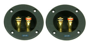 (2 PACK) SPEAKER BOX TERMINAL ROUND SPRING CUP CONNECTOR SUBWOOFER ENCLOSURE