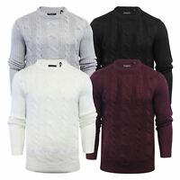 Mens Jumper Brave Soul Phantom Cable Knit Crew Neck Sweater