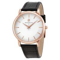Brooklyn Watch Company Myrtle Silver Dial Black Leather Swiss Quartz Mens Watch