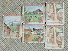 Vintage Stella Artois Beer Mats x5 1978 Village Series