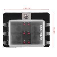 6 Way 12-24V Block Holder Fuse Blade Box Light Kit Car Marine LED Indicator