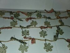 Primitive Twine Wooden Holiday Snowflake Rag Garland~Tree/Wreath/Swag/Country