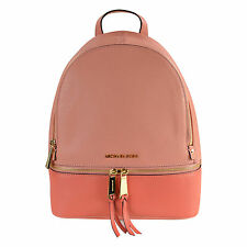 NWT Michael Kors Rhea Zip MD Small Back Pack Leather in Peach/Pink Grapefruit