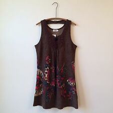 ADORE Anthropologie Brown Sleeveless Knit Butterfly Print Shift Dress Sz L NWT