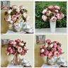 Home Wedding Party Decor Artificial 1 Bouquet 8 Head Peony Silk Flower Fake Leaf