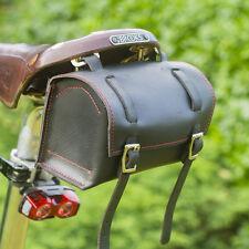 Genuine Leather Saddle Bag Tool Box Craft Vintage Retro in BLACK (Red stitching)