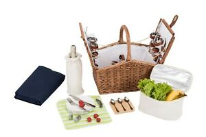 W and S Wickers and Straw Luxury Picnic Basket Hamper - 4 Person