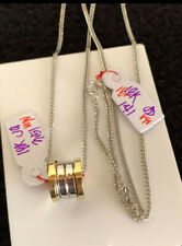 GoldNMore: 18K White Gold Necklace With Two Tone Pendant 18 Inches Chain