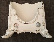White Porcelain Silver Tone Gilt Footed Letter Brochure Mail Holder OES Inscribe
