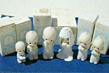 Precious Moments Bride Groom Set 6 Porcelain Figurines Statues 1983 Wedding Box
