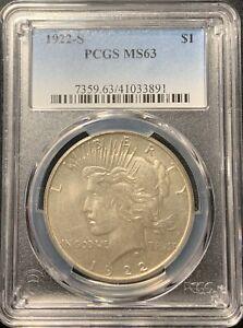 1922-S $1 Peace Dollar PCGS MS-63