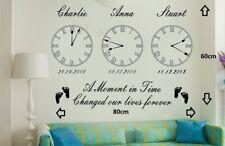Personalised Kids Birth Date Vinyl Wall Art Clock x 3 Stickers*