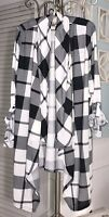NEW Plus Size 1X Black White Plaid Open Cardigan Jacket Topper