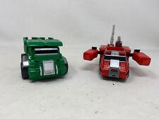Vintage 1983 Bandai GoBots MR-15 Dump Truck & Fire Truck Transformer Toy Figures
