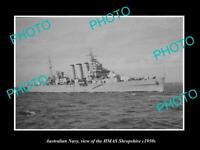 OLD POSTCARD SIZE PHOTO OF AUSTRALIAN NAVY SHIP HMAS SHROPSHIRE c1950