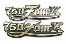New Side Cover Emblem Set Reproduction 77-78 Honda CB750 K Four Black Gold #Z83
