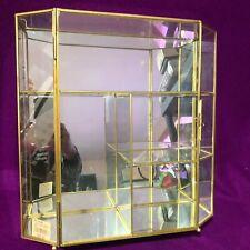 Brass Mirror Glass Door Miniature Curio Display Shelf Shadow Box Vtg New 12 12