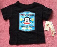 BNWT Paul Frank Jersey Negro Algodón Camiseta estampado de tatuaje temporal 18M Rockabilly 50s