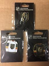 Las Vegas Golden Knights Logo Hockey Pin + 2 Jersey Pin Home & Away  !!!!  NEW
