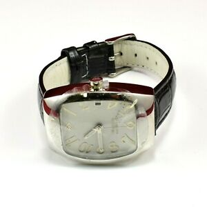 Silpada Sterling Silver 925 Barrel Shape Black Leather Band Watch