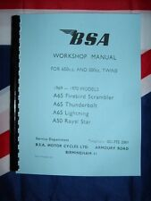 Shop Manual Fits BSA A65 Lightning Thunderbolt Firebird 650cc 1969 1970 Workshop