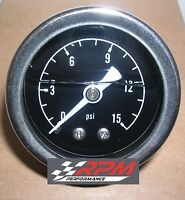 "Fuel Pressure Gauge Mechanical Chrome 1 1//2/"" 0-15 psi BLACK Bezel RPC RACING A66"