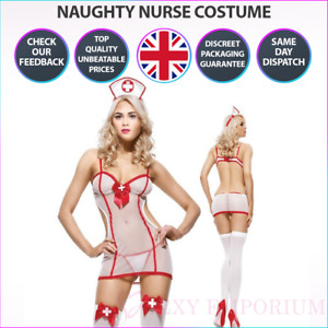 Womens Sexy Naughty Nurse Lingerie White Fancy Dress Costume Roleplay