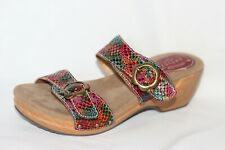 New Spring Step Mittie Rainbow Leather Two Strap Sandals Women 42 10.5- 11