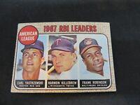 1968 TOPPS '67 A.L. RBI LEADERS YAZ, KILLEBREW, FRANK ROBINSON  CARD #4 VG