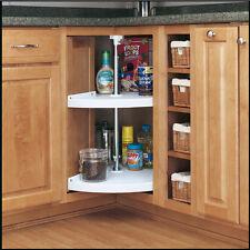 Almond 2-Tier Shelf Set Organizer Plastic Pie-Cut 26- 32 in Cabinet Lazy Susan
