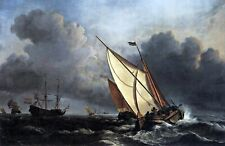 Boats on a Stormy Sea by Willem van de Velde. Canvas Boat Art.  13x19 Print