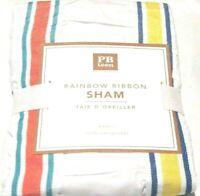 Pottery Barn Teen Rainbow Ribbon Sham EURO 26x26 Pillow Cover Blue Pink Green